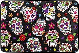 Kcldeci Day of The Dead Sugar Skull Doormat Indoor Door Mats 23.6 x 15.7 inch Skeleton Daisy Flower Floor Mats Entry Way W...