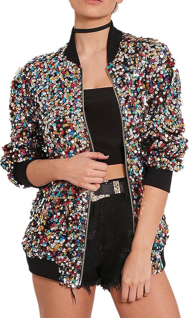Cresay Women's Sequin Fitted Long Sleeve Zipper Blazer Bomber Ja
