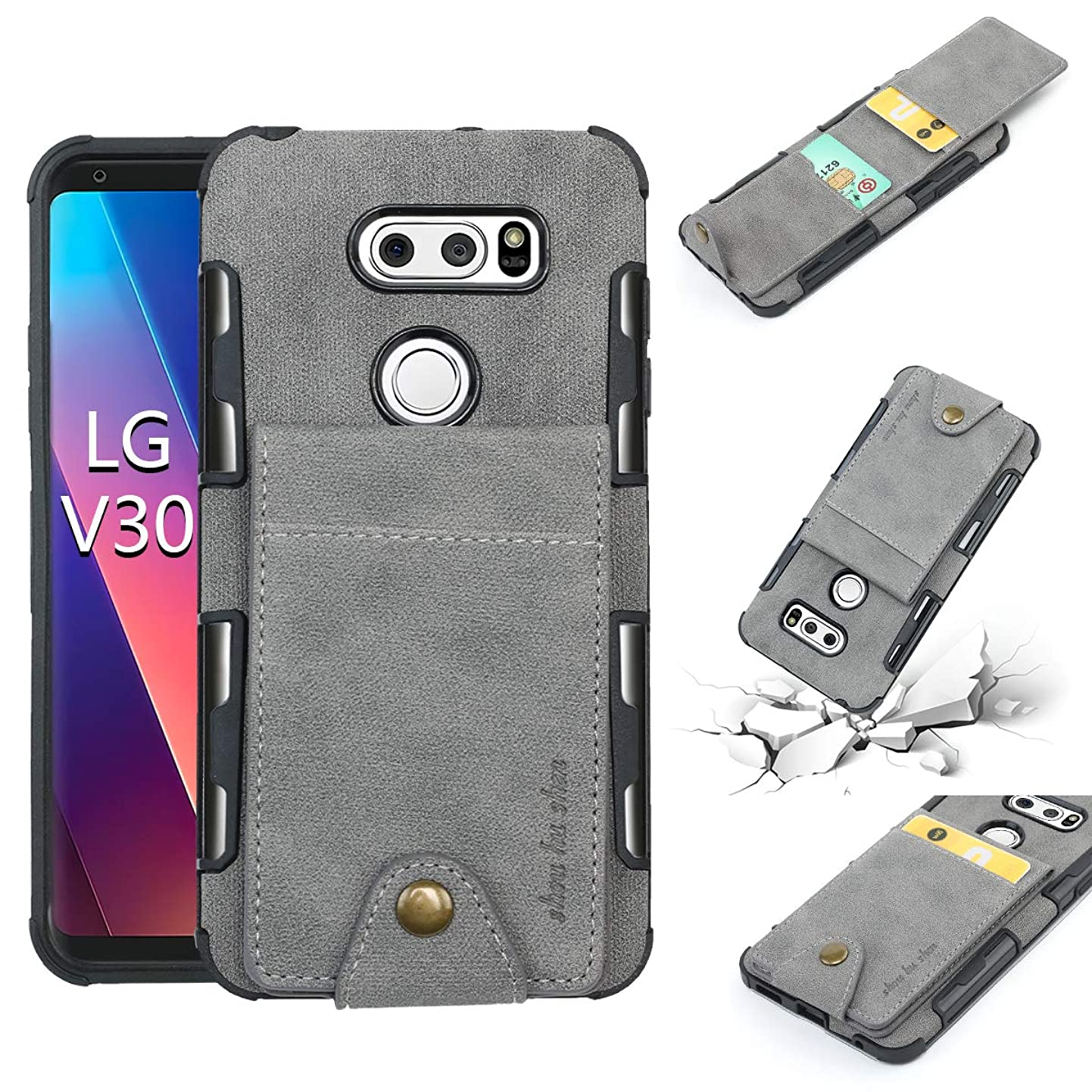 LG V30 Wallet Case, 5 ID Credit Card Slot, Button Flip-Out Leather Drop Protection Case - Gray rmwjkdlkjpm6