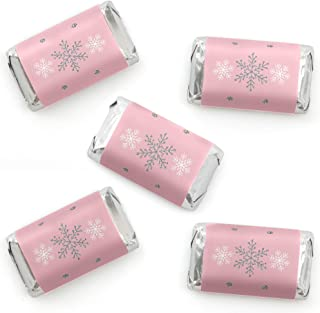 Big Dot of Happiness Pink Winter Wonderland - Mini Candy Bar Wrapper Stickers - Holiday Snowflake Birthday Party and Baby Shower Small Favors - 40 Count