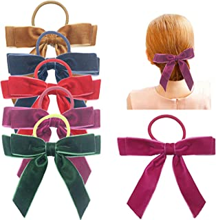 DeD 6 Pieces Hair Bows with Ponytail Holder Velvet Ribbon Bows Hair Accessories for Women Girls