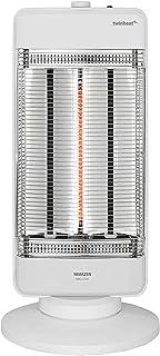 [山善] 速暖カーボンヒーター&遠赤外線シーズヒーター搭載 ツインヒートプラス(1200W/900W/300W 3段階切替) 自動首振り機能付 ホワイト DBC-J122(W) [メーカー保証1年]