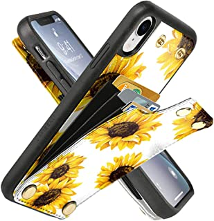 LAMEEKU iPhone XR Walle Case, iPhone XR Floral Case, Flower Sunflower Pattern Design Leather Case with Credit Card Slot, Protective Bumper Phone Cover for iPhone XR 6.1'' - Sunflower