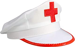 Skeleteeen White Nurse Costume Hat - Nurse's Red and White Costume Cap - 1 Piece