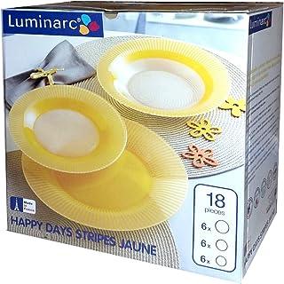 comprar comparacion Luminarc - Juego de cena para 6 personas (18 piezas), diseño de rayas, color amarillo