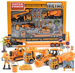 Construction Truck Playset Die Cast Metal Car Toys 15