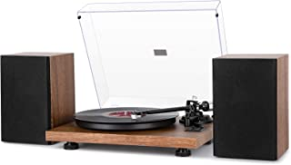 1byone Wireless Turntable HiFi System with 36 Watt Bookshelf Speakers, Patend Designed Vinyl Record Player with Magnetic C...