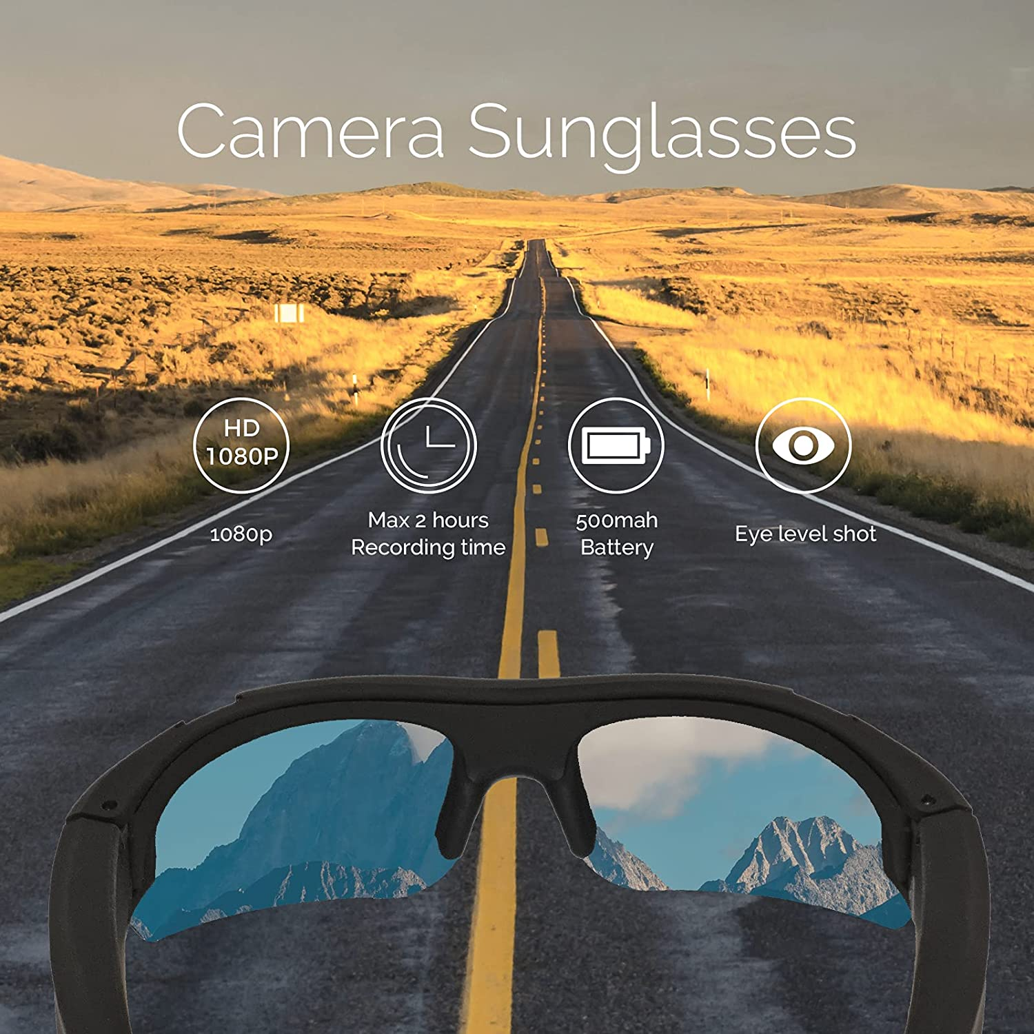 Camera Glasses 1080P - HD Video Glasses, Wearable Camera, Polarized Lens, Sport Design for Driving, Daily Recording, Traveling, A Great Gift for Family and Friends (No TF Cards)