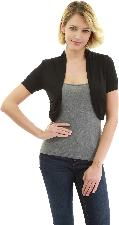 AmélieBoutik Women Pleated Sides Short Sleeve Bolero Shrug