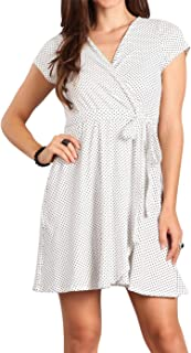 Daisy Del Sol Women's Polka Dot Print Relaxed Fit Surplice Crossover Wrap V-Neck Swing Soft Knit Waist Tie Sundress Dress