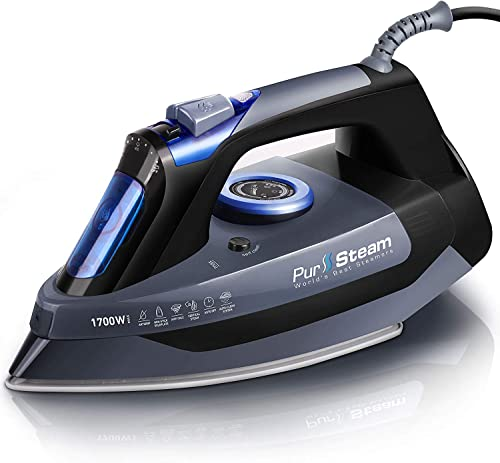Professional Grade 1700W Steam Iron for Clothes with Rapid Even Heat Scratch Resistant Stainless Steel Sole Plate, Tr...