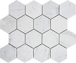 Simple Tile - Carrara White Marble Mosaic Tile for Kitchen Backsplash, Bath Tub Surroundings, Bathroom Floor, Etc, CWMM3HE...