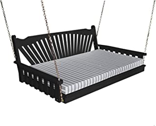 Hanging Fanback Porch Swing Bed - Gorgeous 6' Swinging Swingbed Daybed Frame Is A Showstopper That The Entire Family Will Love - Fun Outdoor Furniture Covered Terrace - 9 Color Choices