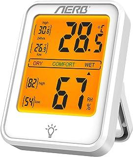 Aerb Higrómetro Digital , Higrómetro de Alta Precisión, Conmutable ℃ / ℉,con Retroiluminación para el Hogar, Oficina,Dormi...