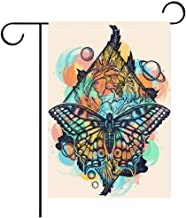 Custom Personalized Garden flag Outdoor flag Butterfly rose and universe color tattoo geometrical style Beautiful Swallowtail boho t shirt design Mystical Best for Party Yard and Home Outdoor Decor