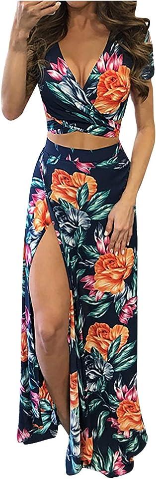WUHOVILA Women's Sexy V Neck Floral Printed Side Slit Two-Piece Maxi Dress