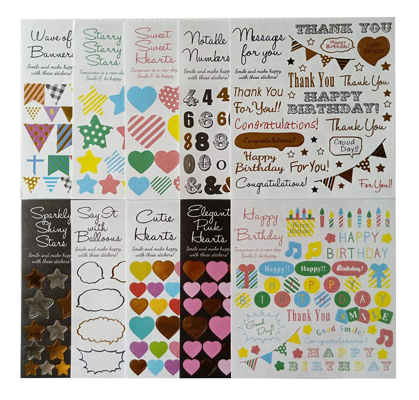 IDULL Happy Birthday Stickers Kits 10 Sheets-Heart,Flag,Numbers,Stars,Dialog