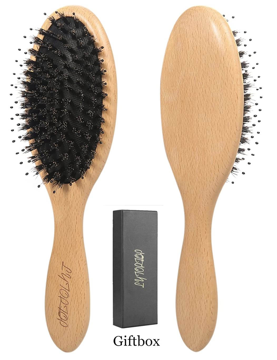 Boar Bristle Hair Brush With Detangle Pins, Natural Wooden Hairbrushes for Women Men and Kids, Best for Thick,Curly,Dry or Damaged Hair,Reduce Frizz, Add Shine & Improve Hair Texture(Giftbox)