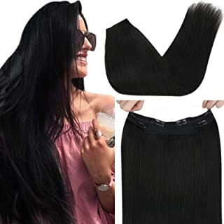 Sunny 18inch Halo Hair Extensions Platinum Blonde Remy Hair Fish Line Extensions Halo Extensions Real Human Hair 80g/pack ...