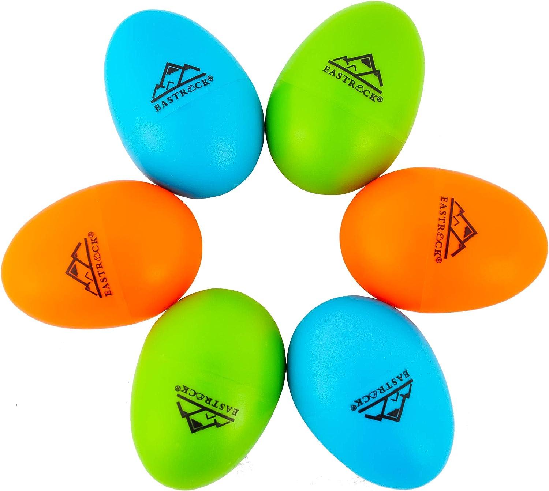 EastRock 6 PCS Plastic Egg Shaker Set Musical Hand Percussion Shakers Musical Maracas Percussion Instruments