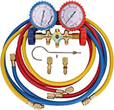 KONDUONE 5FT AC Gauge Set for R134A R410A R22 Refrigerants A/C Diagnostic Manifold Gauge Set with 2pcs 1/4 Inch Quick Coupler