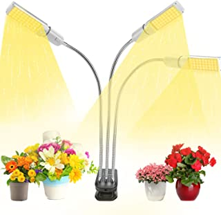VOGEK Grow Light, Tri Head Plant Lamp Auto On/Off Plant Growing Light with Adjustable Gooseneck & Desk Clip On, 3/6/12H Timer, 66W, 3 Switch Modes 5 Brightness Settings, Suitable for Indoor Plant