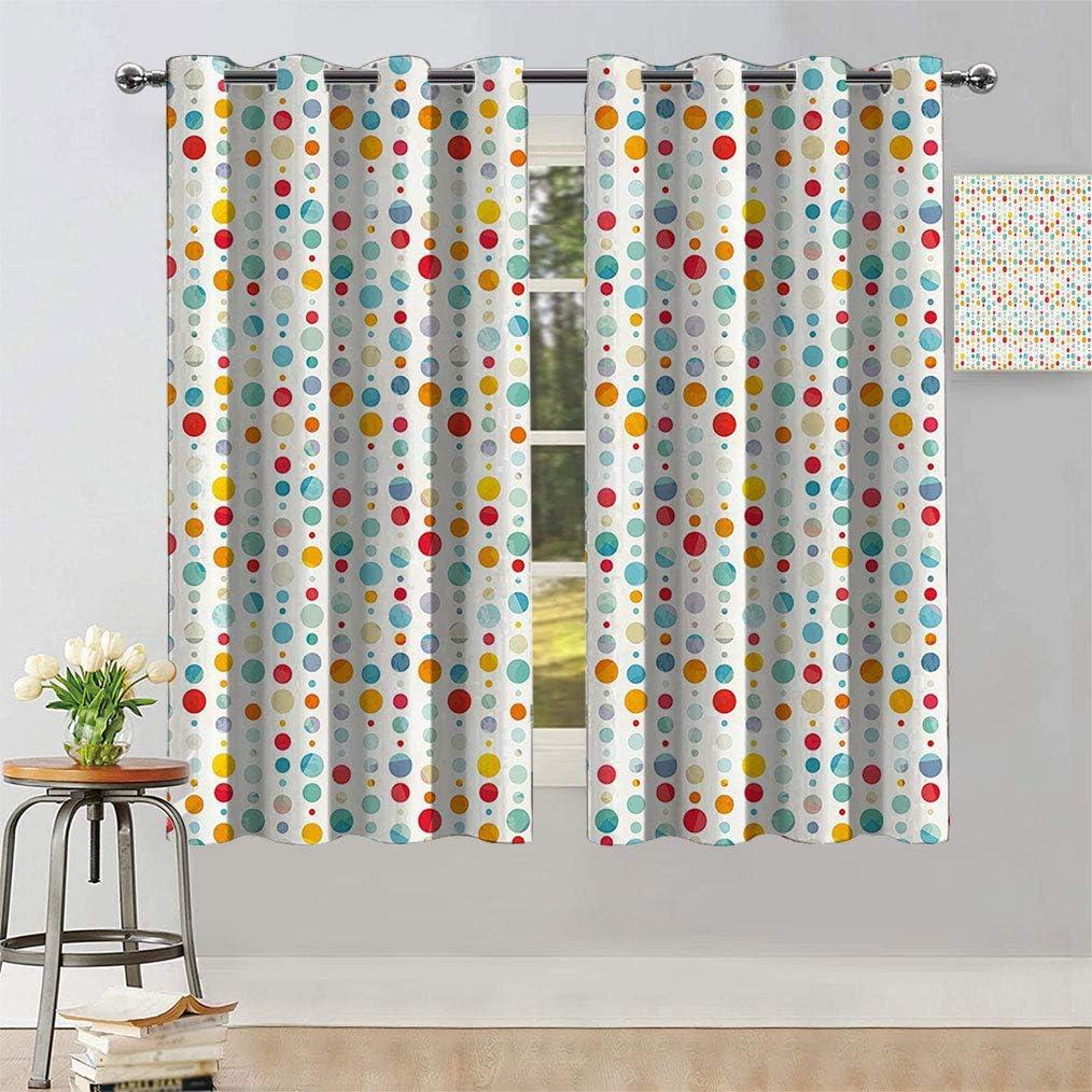 Abstract Heat Blocking Curtains Colorful Circular Large Bu Dots 有名な キャンペーンもお見逃しなく