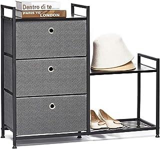 Commode avec 3 Tiroir en Tissus et Étagère à Chaussures Meuble de Rangement Metallique Armoire Design Pieds Réglables pour...