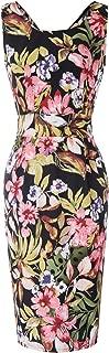 Belle Poque Retro Vintage Sleeveless V Neck Floral Pencil Dress