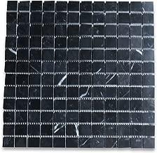 Nero Marquina Black Marble Square Mosaic Tile 1 x 1 Polished