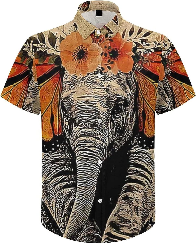 Mens Button Down Shirt Butterfly Elephant Be Kind Casual Summer Beach Shirts Tops