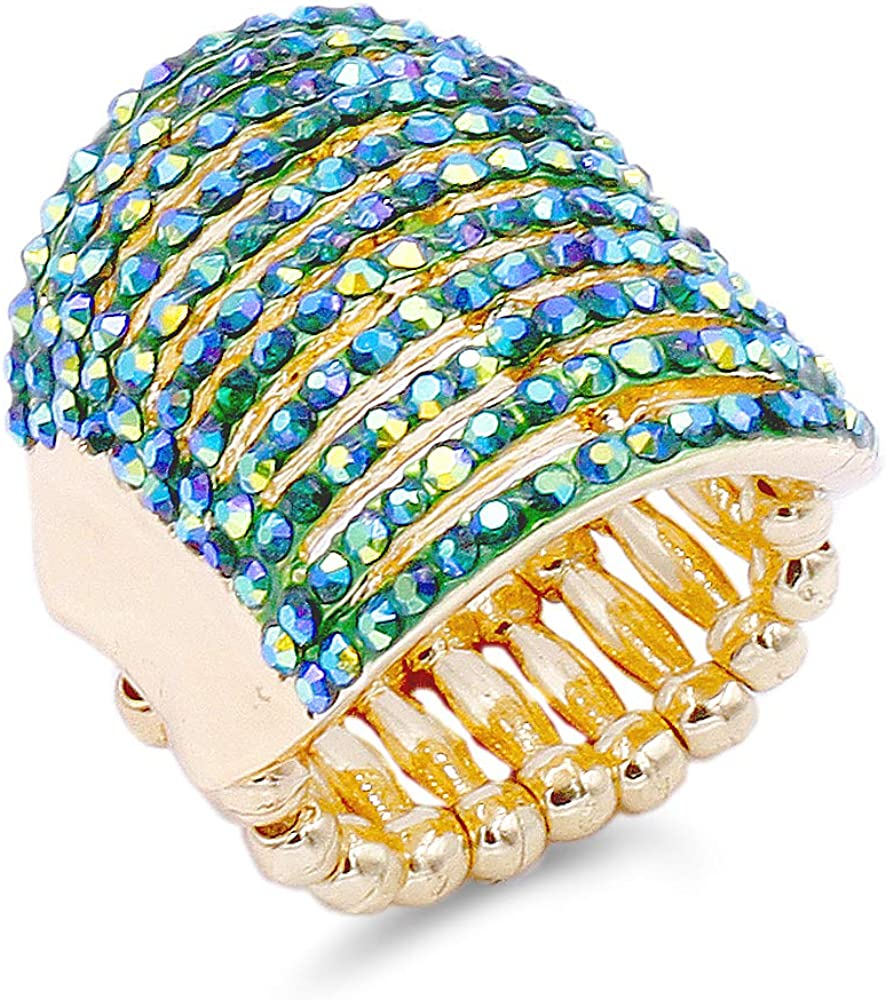 Lavencious 11 Rows with Crystals Stretch Rings Statement Rings Free Size for Women