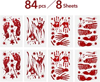 DCLYSI Halloween Decorations (84 PCS),Bloody Footprints & Handprints Stickers Halloween Decorations Window Vampire Zombie Party Decals 8 Sheets