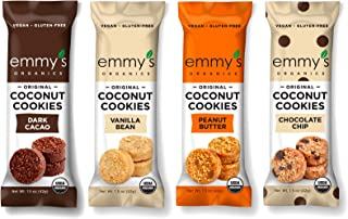 Sponsored Ad - Emmy`s Organics, Coconut Cookies - Variety Pack, 1.5 oz (Pack of 12) (Dark Cocao, Peanut Butter, Vanilla Be...