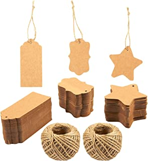 300pcs Kraft Paper Gift Tags, 3 Designs Craft Hang Tags with Free 130 Feet Natural Jute Twine for Wedding and Gift Arts