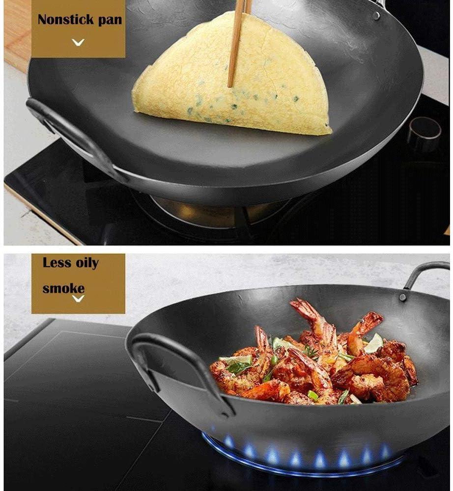 Wok - wok wok cuisson en fonte épaisse pot en fonte poêle marmite pan pot Uncoated antiadhésive ragoût casserole Wok 55 cm 1yess (Color : 46cm) 43cm