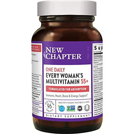 New Chapter Multivitamin for Women 50 Plus + Immune Support - Every Woman's One Daily 55+ with Fermented Probiotics + Whole Foods + Astaxanthin + Organic Non-GMO Ingredients - 96 ct