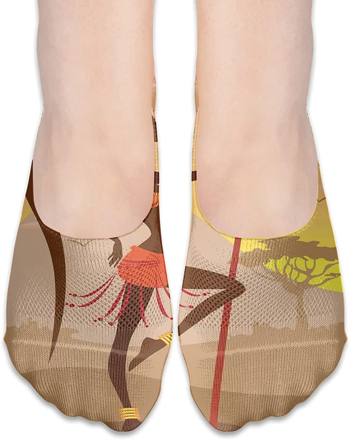 Polyester Cushioned Athletic Ankle Socks Savannah Lady Like Amazon Girl Standing For Hunt Safari Style Retro Folk PrintAnkle Compression Sock for Men and Women Low Cut Compression Running Sock