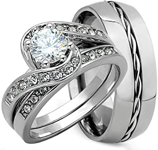 3 piece his and hers wedding ring sets