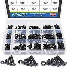 Glarks 510Pcs Metric M3 M4 M5 Alloy Steel Socket Cap Screws Hex Head Bolt Nuts Assortment Kit - Black Oxide Finish