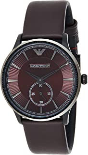 Emporio Armani Leather Quartz Analog -Watch Ar1801, Brown Band, For Unisex