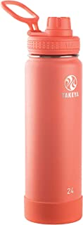 Takeya 51186 Actives Insulated Stainless Steel Water Bottle with Spout Lid, 24 oz, Coral