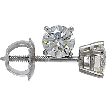 IGI Certified 0.75 Carat Lab-Grown Diamond Stud Earrings 14kt White Gold Womens (I-J Color VS2-SI1 Clarity)