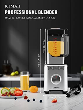 KTMAII Countertop Smoothie Blender, 1800W Professional High Powered Blender for Kitchen with 68oz BPA-Free Pitcher Blender fo