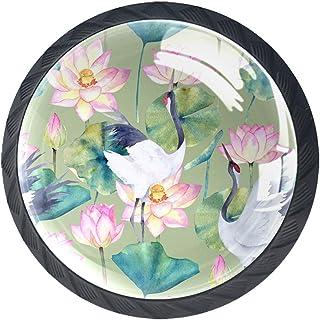 Tiroir Poignées Tirez pour la maison de cuisine commode garde-robe,Aquarelle grue et fleur de lotus