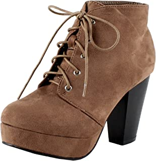 5a0bc5372116 Forever Camille-86 Women s Comfort Stacked Chunky Heel Lace Up Ankle Booties