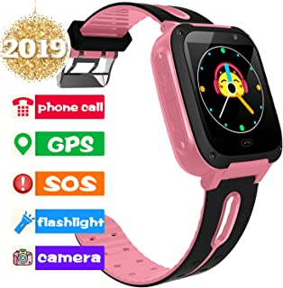 Kids Smart Phone Watch Girls Boys 1.5'' Touch HD GPS Tracker for 3-14 Year 2 Way Call SOS Camera Flashlight Alarm Clock Tracker 2019 Holiday Electronic Learning Game Toy Birthday Gifts for Android iOS