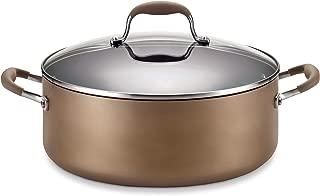 Anolon 82795 Advanced Hard Anodized Nonstick Stock Pot/Stockpot with Lid, 7.5 Quart, Bronze Brown