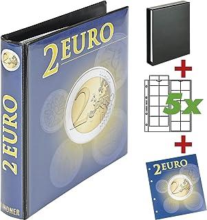 LINDNER Das Original Album de collection pour pièces de 2 euros avec 5 feuilles pour un total de 100 pièces, extensible gr...