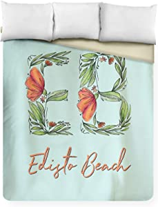 Lantern Press Edisto Beach, South Carolina - Floral Abbreviation (88x104 King Microfiber Duvet Cover)